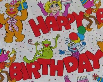 Vintage 1992 Jim Henson MUPPETS Unused Gift Wrap Sheet ~ Kermit Frog Miss Piggy