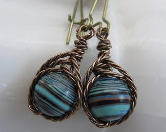 Striped turquoise earrings - wire wrapped earrings - beaded gemstone earrings - boho earrings - howlite earrings - antiqued brass earrings