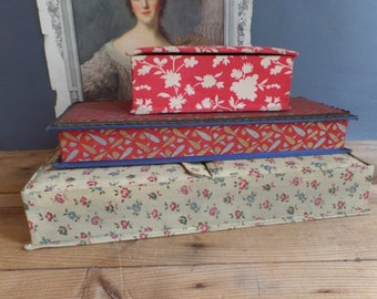 vintage 3 FRENCH fabric covered box  Shabby chic  Boudoir