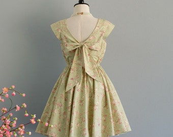 Lolita - Dress Pale Green Floral Backless Dress Bow Back Dress Green Floral Dress Party Green Wedding Bridesmaid Dress Cap Sleeves  XS-XL