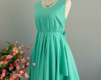 Mint green dress green party dress greenl prom dress green cocktail dress bow back dress green bridesmaid dresses green backless dress