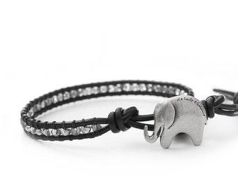 Silver Lucky Elephant Button Leather Wrap Bracelet - the Lucky Elephant Exclusive