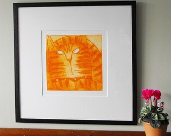 Ginger - original ginger Tom cat print, ginger cat art limited edition of 250 orange Tom Cat etching cat art prints menacing ginger unframed