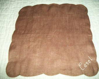 What Brown can do for You, Vintage Handkerchief, Monogram, Carol