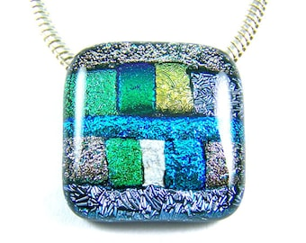 Pet Cremation Ashes Jewelry - Dichroic Pendant - Pastel Silver Metallic Gold Blue Green Fused Glass - Patchwork Block Memorial Custom Color