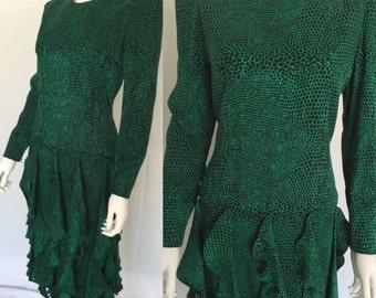 Vintage Carolina Herrera Neiman Marcus Timeless Courtier Emerald Green and Black Silk Print Dress - FREE SHIPPING IN U.S.