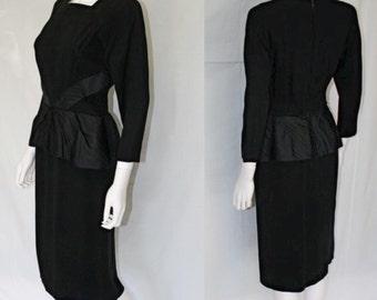 Stunning Vintage Silk Crepe Peplum Dress - Mid Century