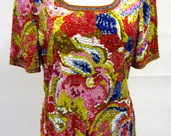 Original Vintage 1980s Oleg Cassini Bright Sequin Top UK Size 14/16