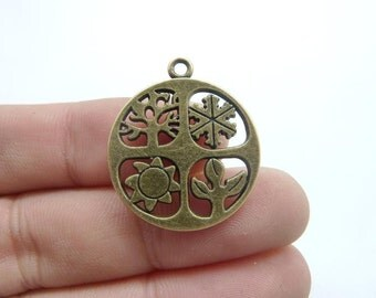 10pcs 24mm Four Seasons Charm Antique bronze Tone Absolutely Stunning C8326