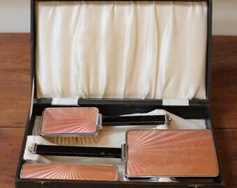 Vintage Art Deco Guilloche Enamel Dresser, Vanity Set. British.