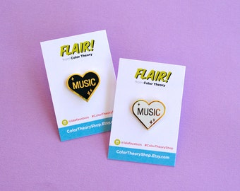 Heart Enamel Pin White Black Heart Music Musician Band Love Gold Lapel Gifts under 10