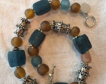 Omani sterling beads and African tribal glass beads necklace