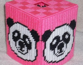 Panda Bear Head Tissue Box Cover Plastic Canvas Pattern