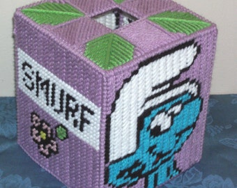 Smurf Tissue Box Cover Plastic Canvas Pattern