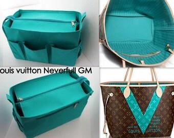 Taller Purse organiser 14W x 9H x 7D for Louis Vuitton Neverfull GM with Zipper closure- Bag organizer insert in Turquoise match LV Monogram