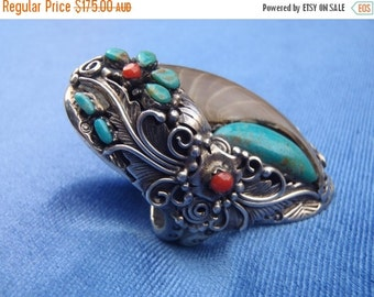 20%OFF chunky silver american indian design ring...large size.....10.5....U....