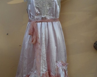 """20%OFF vintage inspired double layered pink satin dress,,,small to 36"""" bust..."""