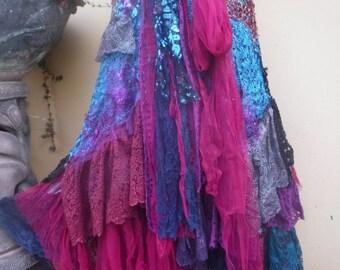 """20%OFF wedding bohemian boho gypsy lagenlook OAK shabby gothic wrapskirt...40"""" across plus ties."""