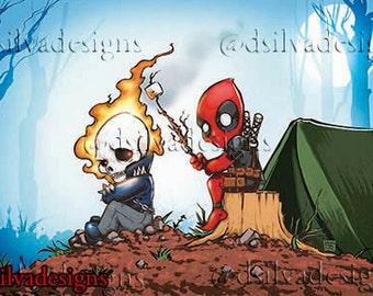 Ghost rider & deadpool go camping.