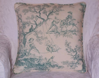 Antique French Toile Cushion Cover - Sage and Ivory - Home Decor, Throw Pillow, French Country.