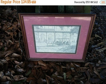Vintage New Orleans Archie Boyd Pencil Sketch Signed New Orleans Souvenir Art Print Pencil Drawing 12 x 16 Carriage Horse Drawn