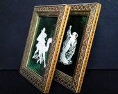 SALE Vintage Wood Bone Inlaid Picture Photo Frames Muslim Mosaic Art Star Frame Pair Green White Home Decor
