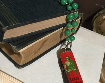 Vintage Cowboy Pocket Knife Necklace Green Beaded Repurposed upcycled texas cowboy jr made in the usa imperial knife co one of a kind