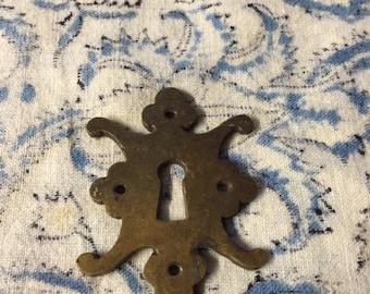 Vintage Keyhole Hardware Findings Escutcheon