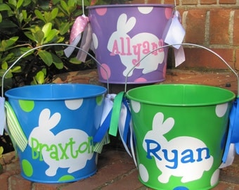 Personalized Monogrammed 5 qt. / 5 quart Metal Easter Bucket / Basket - Lots of designs and bucket colors