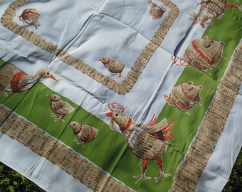 Cute Chicken & Chicks Print Tablecloth, By Calaprint in California