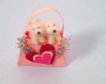 Westie valentine miniatures in a pink purse