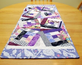 Quilted Purple Table Runner - Crazy Log Cabin Block