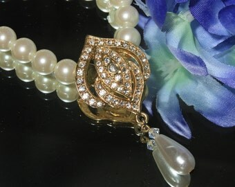 Faux Pearl and Rhinestone Lavalier Necklace, Bridal, Wedding Jewelry, Formal, Glamour Vintage Pearl Tassel Necklace