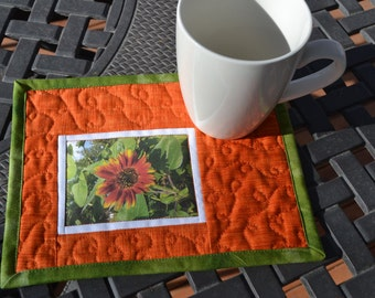 Mug Rug, Quilted Cotton, Garden Sunflower Photo Fabric Placemat, Mothers Day Gift, Spring