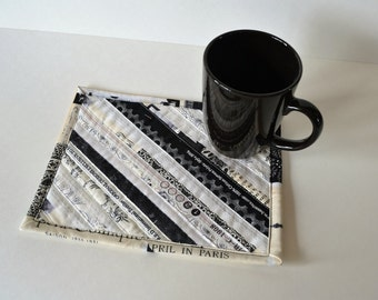 Cotton Mini Placemat, Mug Rug, Black Neutral Quilted Coaster, Selvage Upcycled Mug Mat
