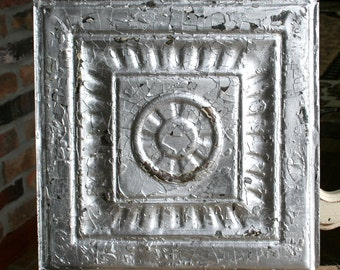 """Genuine Antique Ceiling Tile -- 12"""" x 12"""" -- Distressed Silver Paint -- Pretty Framed Design"""