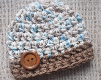 Chunky baby hat - blue and brown ombre baby hat - photography prop - photo prop - baby shower gift - made to order