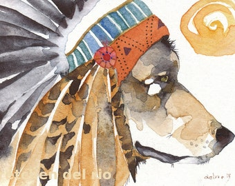 War Bonnet WOLF ACEO PRINT watercolor native american animal totem spirit mystical - Free Shipping