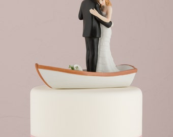 Customized Rowboat Row Boat Wedding Bride Groom Couple Wedding Cake Topper Personalized Hair Color Romantic Nautical Outdoors Woodland