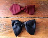 Tie one On... Black and Marron, Vintage Clip On Bow Tie Set of 2, Men's Clothing