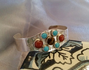 Native American style sterling silver cuff bracelet