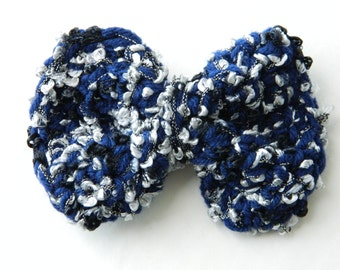Wedding Bows Hair Accessories Girls Crochet Bows with Ribbons Dress Bows For Toddler's  And Teens Prom Bows In Navy Blue Black And White