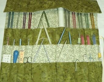 Knitting Needle Organizer, Knitting Needle Case, Knit/Crochet Needle Storage, Olive Batik Print, 30 Pockets, Ready to Ship