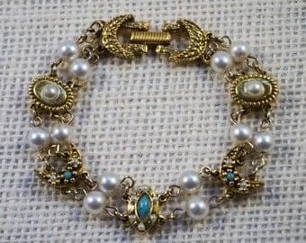 Goldette Faux Pearl and Turquoise Glass Stone Antiqued Gold Tone Victorian Revival Bracelet