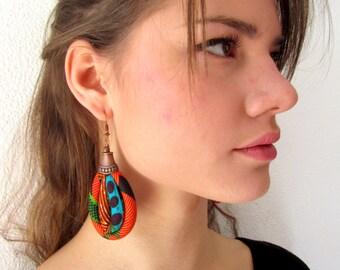 African colorful earrings -  Oval Shape Dangling Fabric Earrings set