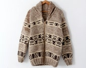 vintage cowichan sweater, thick zip up cardigan