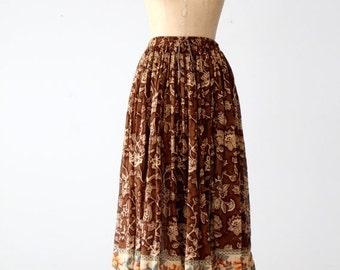 SALE vintage 80s floral gauze full skirt