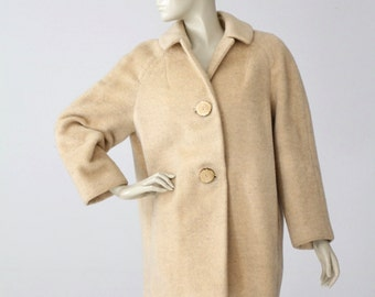 vintage blanket coat, cream wool overcoat, winter coat