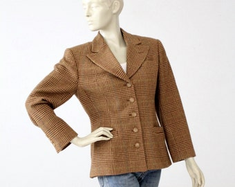 1980s Ralph Lauren blazer, vintage equestrian wool jacket, brown plaid