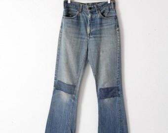 vintage Levi's jeans, patched denim, orange tab, 29 x 32